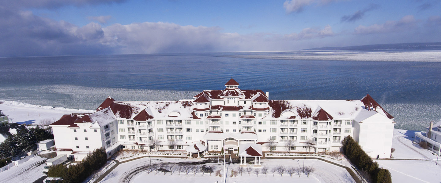 Inn at Bay Harbor in winter on a calm Lake Michigan